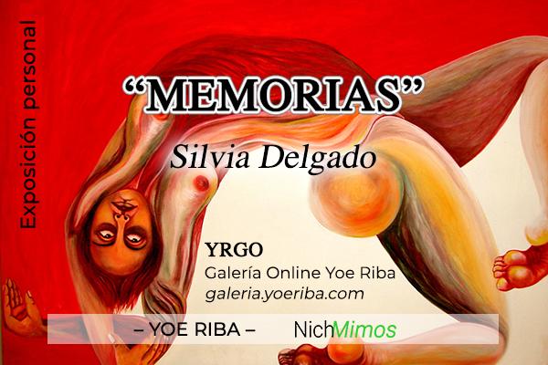 Cartel de Memorias. Expo de una artista de Cuba. Muestra de obras cubanas de su trabajo como artista de la plástica. Arte cubano. Período especial